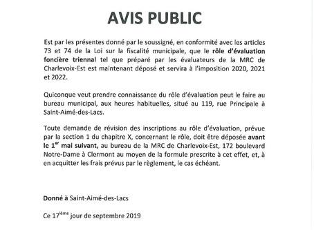 Avis Public - Rôle d'évaluation foncière triennal.