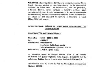 Avis public- MRC Charlevoix-Est