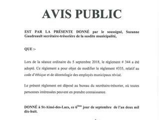 Avis public - Adoption du règlement no 344 relatif à la modification du code d'éthique et de déo