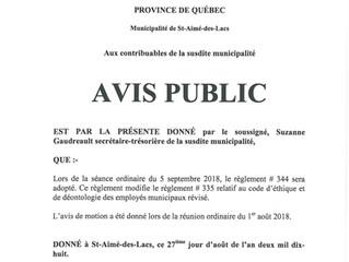Avis public - Adoption du règlement no 344 relatif à des modifications au code d'éthique et de d