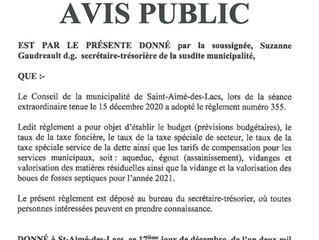 Avis Public - Règlement 355