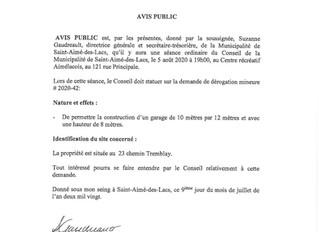 Avis aux citoyens concernant des demandes de dérogations mineures. (4)