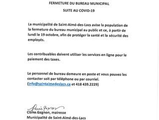 Fermeture du bureau municipal.