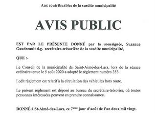 Avis Public - Circulation des véhicules hors-route