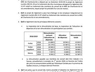 Avis public - Traitement des membres du conseil de la MRC de Charlevoix-Est et ses amendements