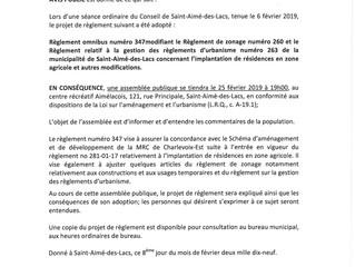 Avis public - Convocation d'une assemblée publique concernant le règlement no 347