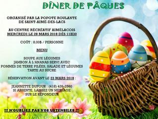 Dîner communautaire pour Pâques organisé par la Popote roulante de Saint-Aimé-des-Lacs