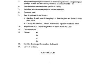 Ordre du jour de la séance régulière du 6 mai 2020