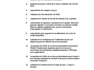 Ordre du jour de la séance régulière du 3 mars 2021 (huis clos)