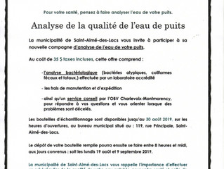 Analyse de la qualité de l'eau de puits