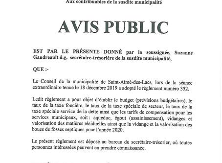 Avis Public - Règlement 352 ( Prévisions budgétaires)