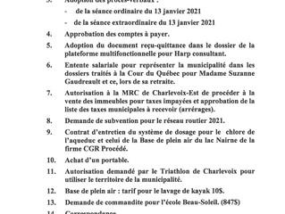 Ordre du jour de la séance régulière du 3 février 2021 (huis clos)