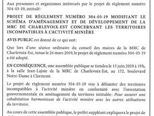 Avis de consultation publique de la MRC de Charlevoix-Est concernant les territoires incompatibles à