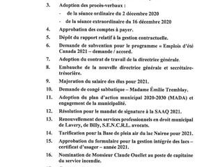 Ordre du jour de la séance du 13 janvier 2021 (huis clos)