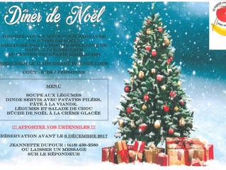 Dîner de Noël organisé par la Popote roulante de Saint-Aimé-des-Lacs