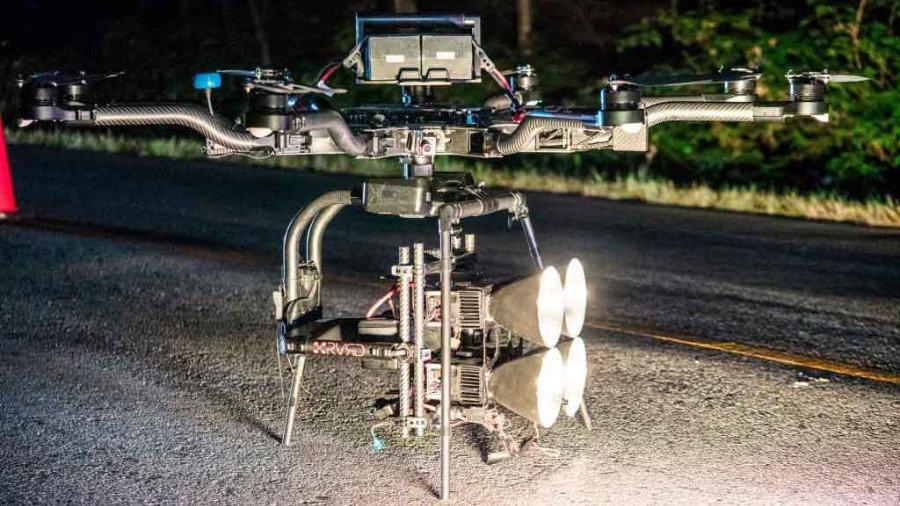 RVRD's Highlite LED drone lighting system. Aerial lighting system with 126,000 lumens