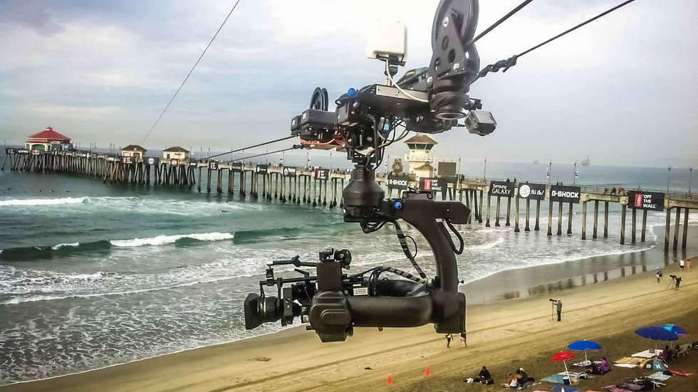Cable camera over surf competition in California