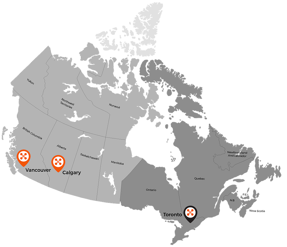 Map of RVRD's locations across Canada.