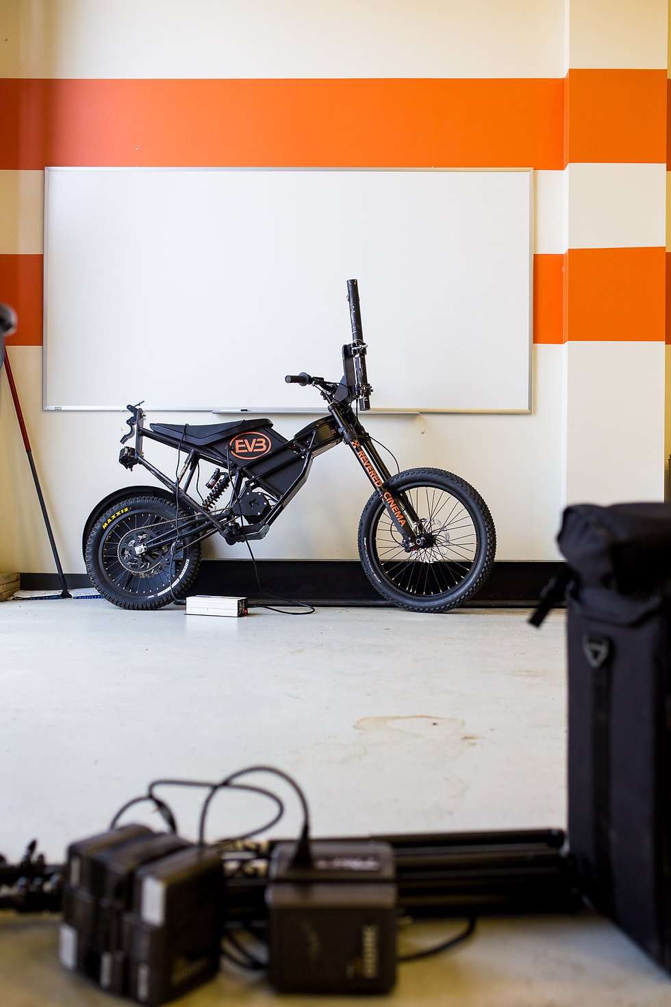 EV Bike with shock mount for filming on rough terrain, tight spots, indoor and emissions free operations