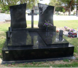 Double Black Granite Monuments with cust