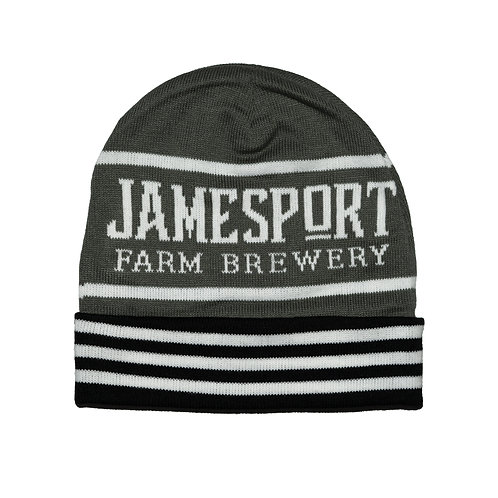 """Jamesport Farm Brewery"" Striped Beanie"