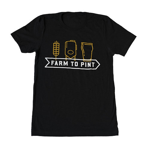 """Farm to Pint"" Black Cotton Tee"