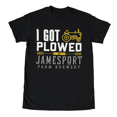 """I Got Plowed"" Black Cotton Tee"