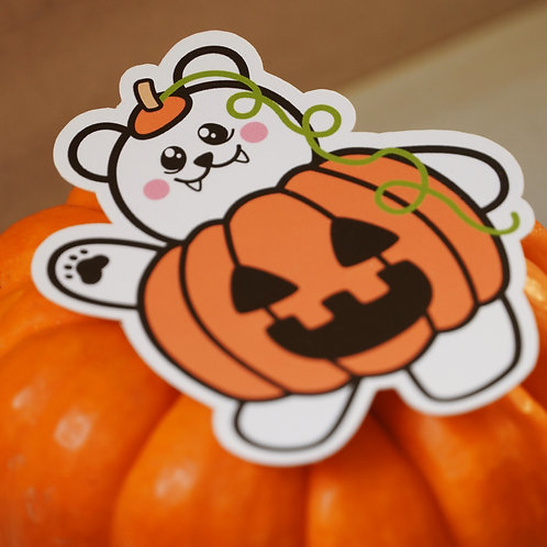 Pumpkin Bear Halloween Sticker - Weatherproof