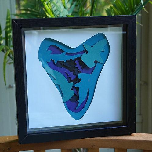 Shiver of Sharks Shadow Box Papercraft