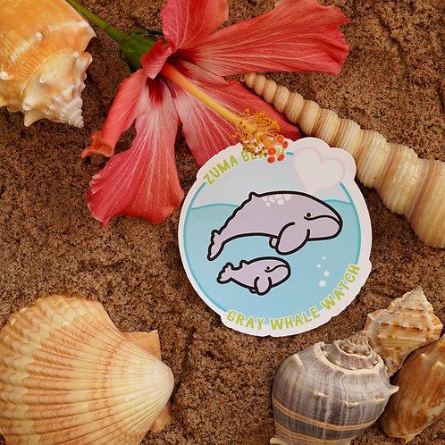 Zuma Beach Gray Whale Sticker - Weatherproof