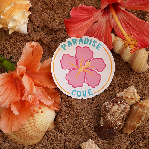 Paradise Cove Hibiscus Sticker - Weatherproof