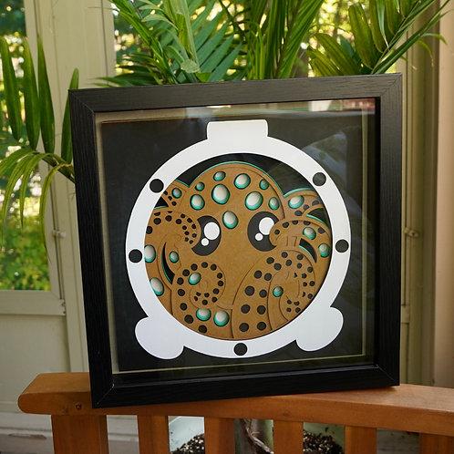 Porthole Octopus Shadow Box Papercraft