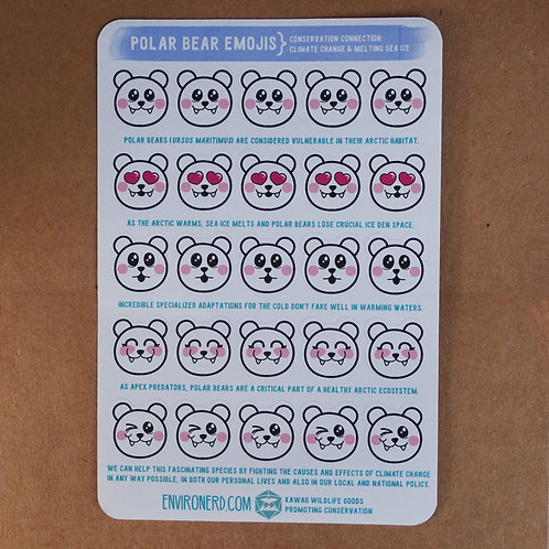 Polar Bear Emoji Sticker Sheet