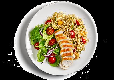 Курица с рисом и свежими овощами