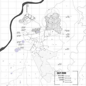 The mapping depicts the uneven distribution of water in the different wards and zones in the city and how the supply gap is filled by the private suppliers.