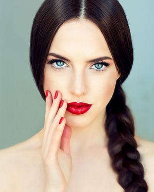 Beautiful  brunette model girl with  lon