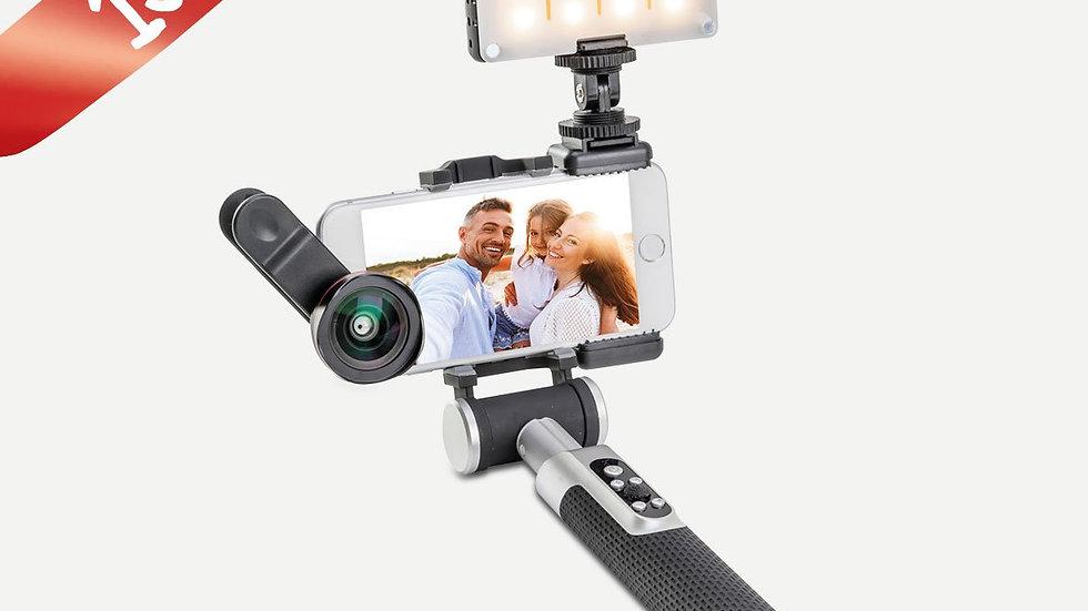 Pictar Smart Selfie Stick + Wide & Macro Smart Lens + Smart Light