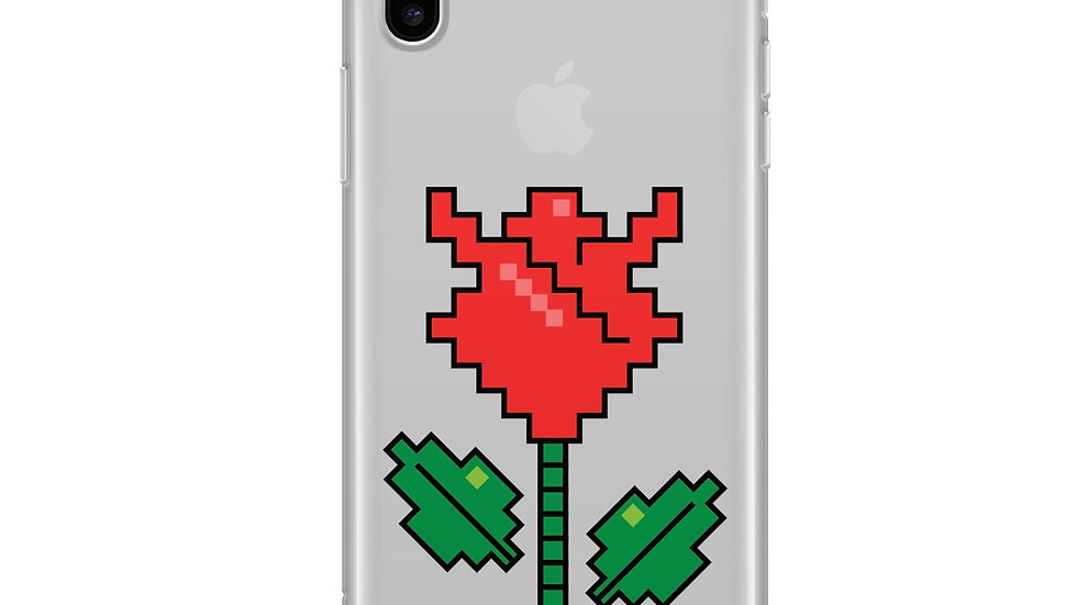 Rose 8-Bit Pixel - Clear TPU Case Cover
