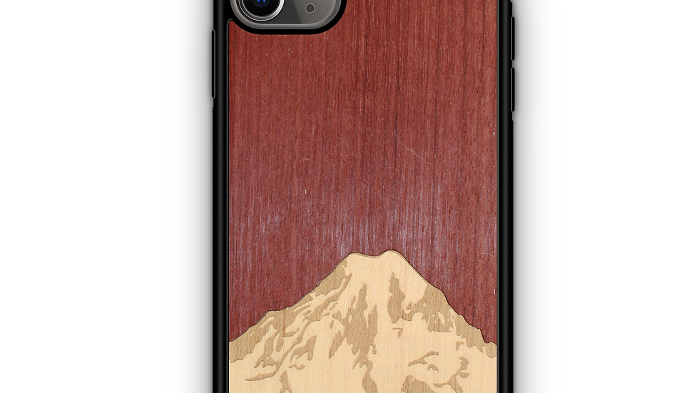 Slim Wooden Phone Case (Mt. Rainier Purple Heart Sky)