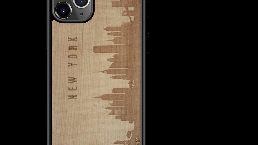 CityScape Wooden Phone Case (New York NY Skyline)