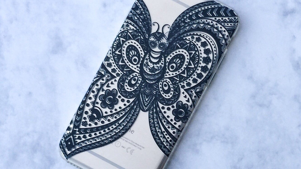 Henna Butterfly - Clear TPU Case Cover