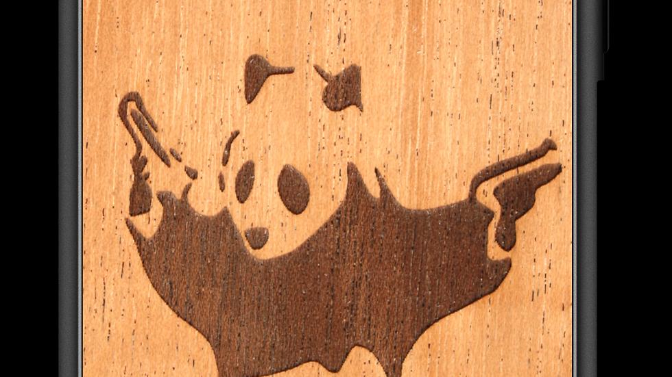 Slim Wooden Phone Case (Banksy Bad Panda in Mahogany)