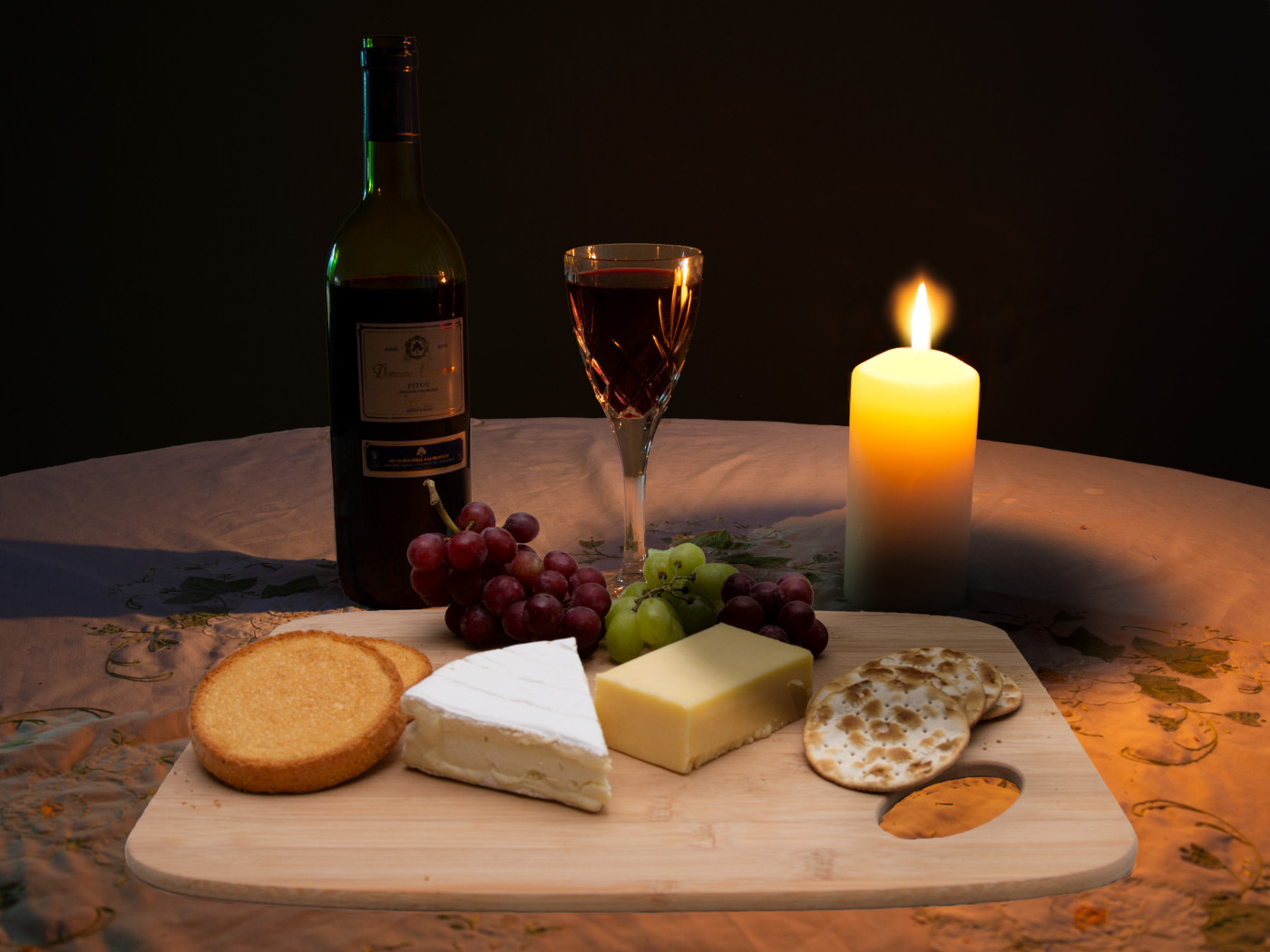 Cheese and Wine by Candle Light