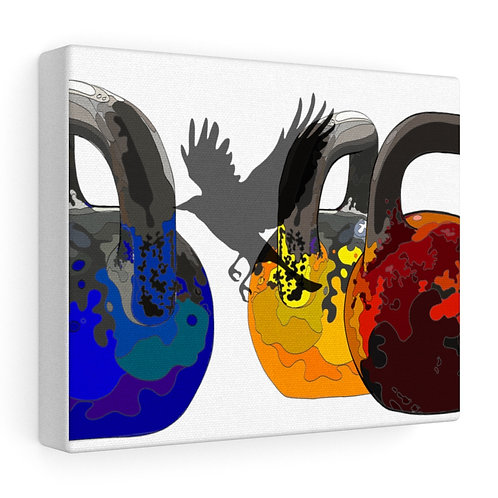 Kettlebells fly 2 Stretched canvas