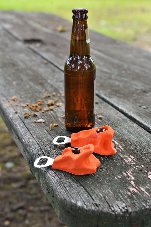 Rock climbing bottle opener