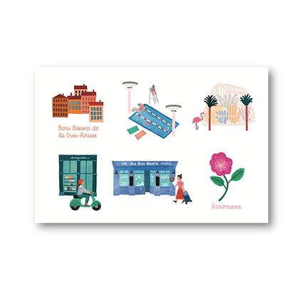 Cartes postales Lyon - Julie Flamingo