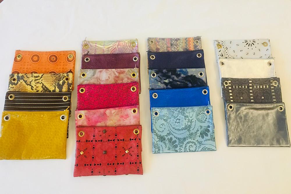 multi pochette componibile in pelle colorata