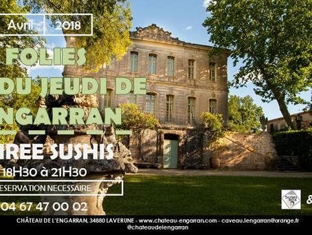 Jeudi 26 Avril - Soirée Sushis au Château de l'Engarran, Lavérune