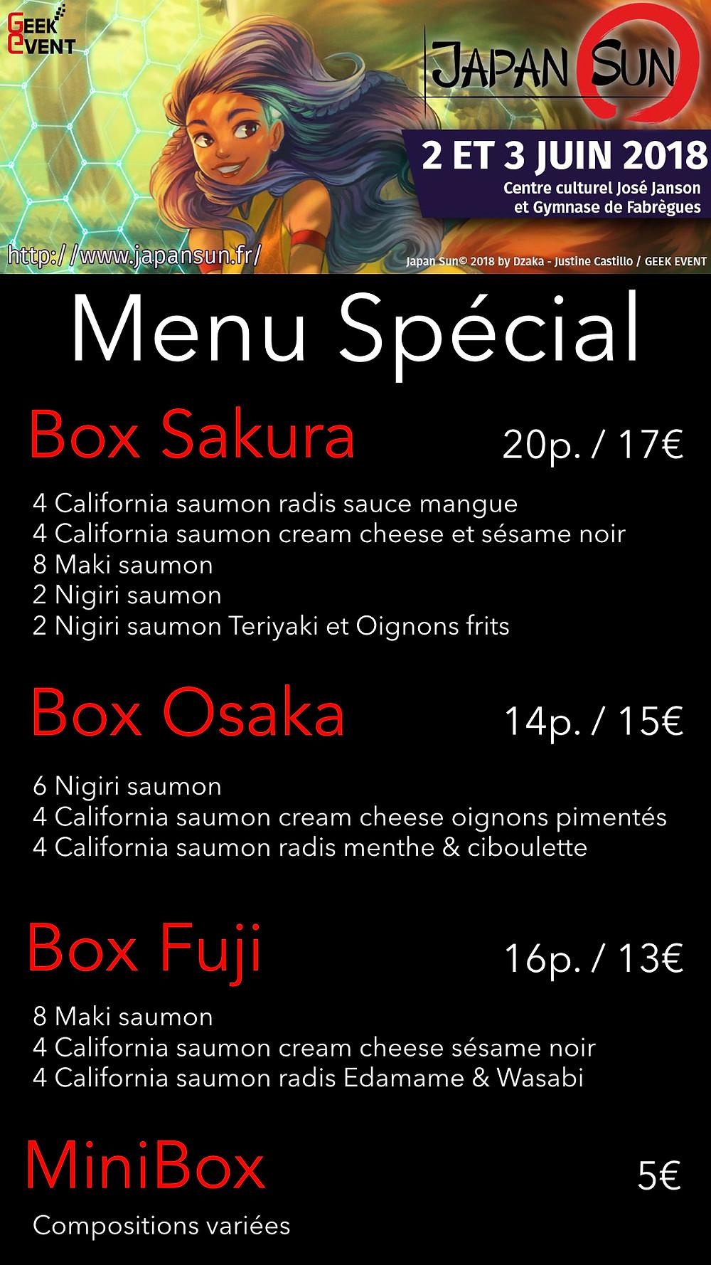 Menu Spécial SushiBox JAPAN SUN Samedi 2 juin