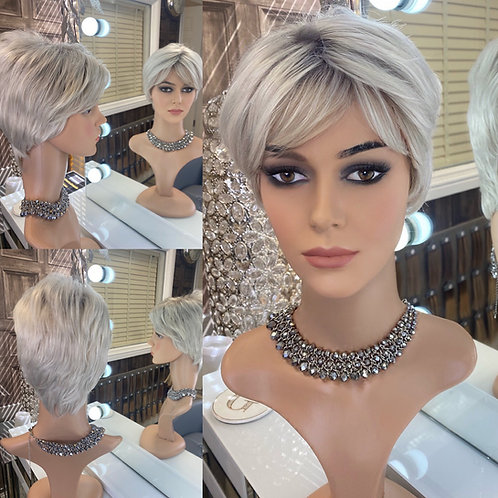 Silver Dark Root Pixie Fibre Wig
